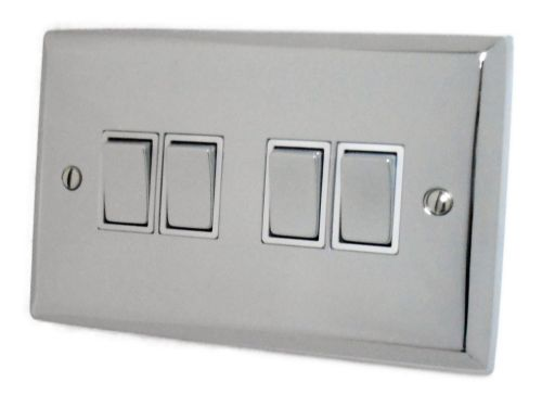 G&H SC204 Spectrum Plate Polished Chrome 4 Gang 1 or 2 Way Rocker Light Switch